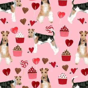 wire fox terrier valentines day cupcakes love hearts dog breed fabric pink