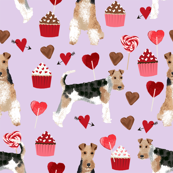 wire fox terrier valentines day cupcakes love hearts dog breed fabric purple