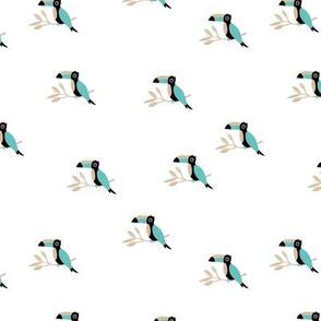 Tropical Toucan birds rainforest summer design gender neutral mint green