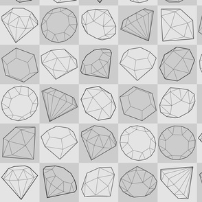Black and white style diamond or crystals seamless pattern on gray background.