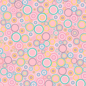 Сolorful сoncentric Circles on the pink background