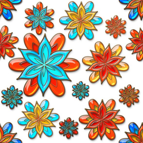 Bright Flowers of Gold and Colored Glass