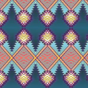 Diamond Kilim Tribal Rug Teal