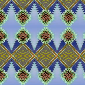 Diamond Kilim Tribal Rug Steel Blue
