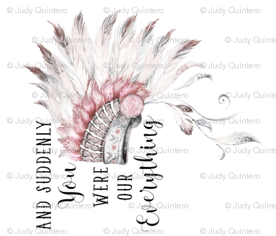 "42""x36"" Suddenly You Were Our Everything / Pink and Grey Headdress"
