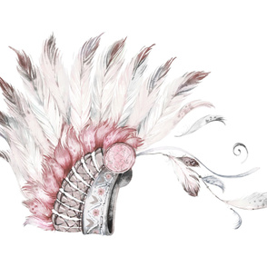 "54""X36"" PINK AND GREY HEADDRESS"