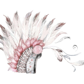 "56""X36"" PINK AND GREY HEADDRESS"