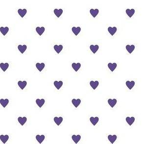 Ultra Violet Purple Hearts on White