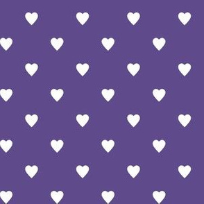 White Hearts on Ultra Violet Purple