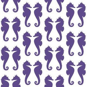 Ultra Violet Purple Seahorses on White