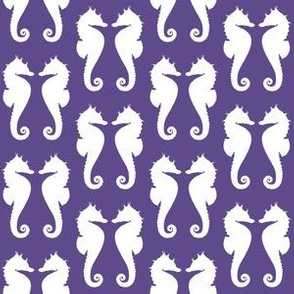 White Seahorses on Ultra Violet Purple