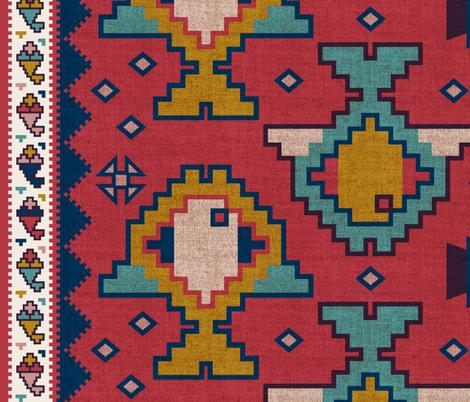 Turkish Fish Kilim with Border fabric by meliszawang on Spoonflower - custom fabric