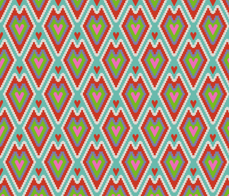 small kilim hearts color 4 fabric by victorialasher on Spoonflower - custom fabric
