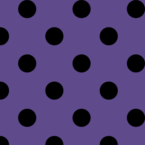 One Inch Black Polka Dots on Ultra Violet Purple fabric by mtothefifthpower on Spoonflower - custom fabric
