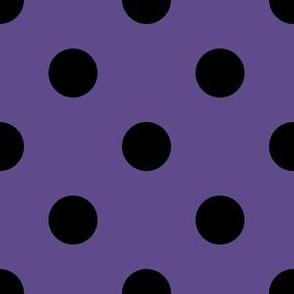 One Inch Black Polka Dots on Ultra Violet Purple