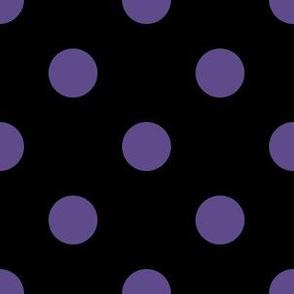 One Inch Ultra Violet Purple Polka Dots on Black