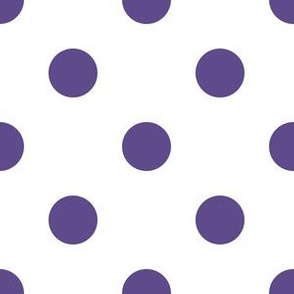One Inch Ultra Violet Purple Polka Dots on White