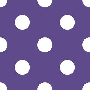 One Inch White Polka Dots on Ultra Violet Purple