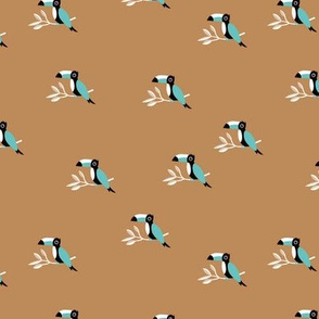 Tropical Toucan birds rainforest summer design sand ochre