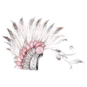 "8"" Pink and Grey Headdress Mix and Match 90 degrees"