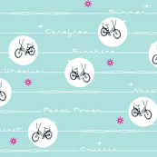 Pedal Power* (Polymer) || bicycle bicycles typography stars flowers stripes pastel