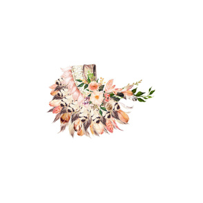 "28"" illustration Peach Headdress / Inside a 54"" wide space"