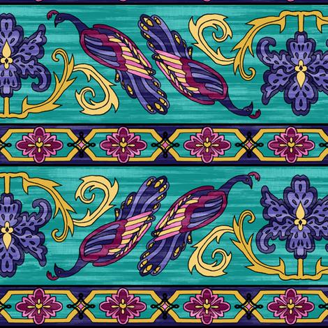 Peacock Kilim Border fabric by pond_ripple on Spoonflower - custom fabric