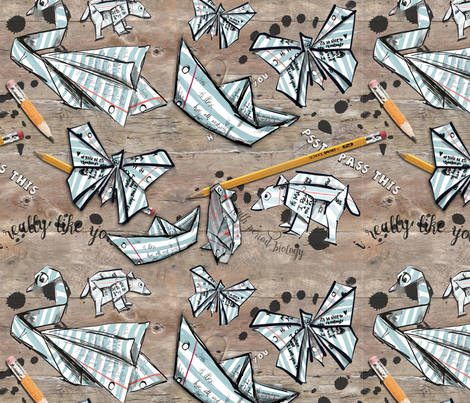 Origami Love Notes fabric by tiffanyagam on Spoonflower - custom fabric
