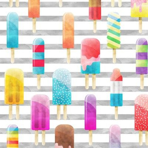Summer Popsicles on Grey Stripe A