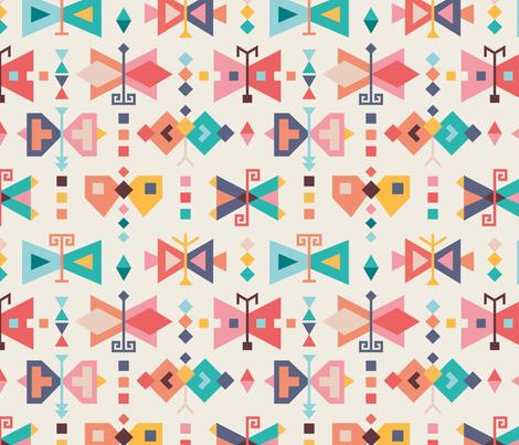 Kilim-butterflies fabric by la_fabriken on Spoonflower - custom fabric