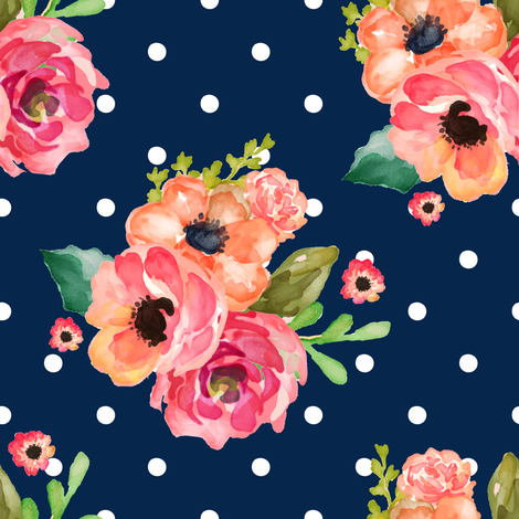 "8"" Floral Polka  White Polka Navy fabric by shopcabin on Spoonflower - custom fabric"