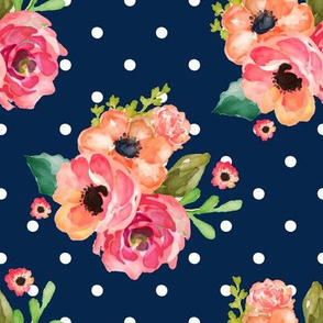 "8"" Floral Polka  White Polka Navy"