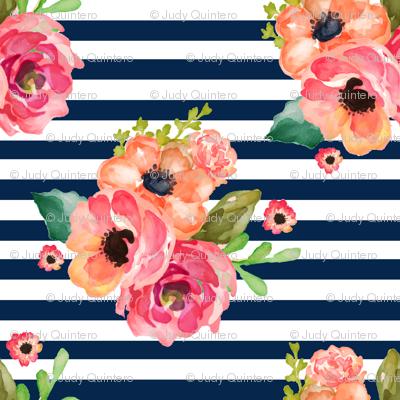 "8"" Floral Polka Navy Stripes"