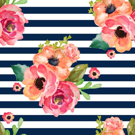 "8"" Floral Polka Navy Stripes fabric by shopcabin on Spoonflower - custom fabric"