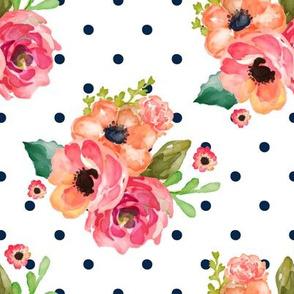 """8"""" Floral Polka Navy Polka Dots"""