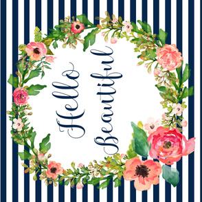 "42""x36"" Floral Dreams Hello Beautiful Navy Stripes"