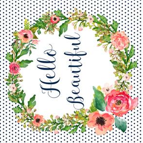 "56""x36"" Floral Dreams Hello Beautiful Polka Dots"
