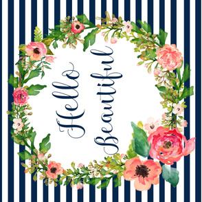 "56""x36"" Floral Dreams Hello Beautiful Stripes"