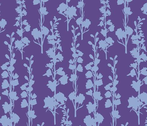 Delphinium silhouette - Ultra Violet Serenity fabric by jillbyers on Spoonflower - custom fabric