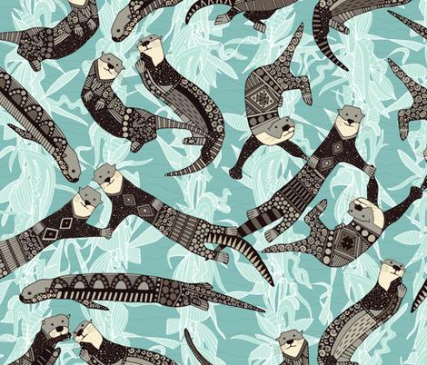 sea otters blue fabric by scrummy on Spoonflower - custom fabric