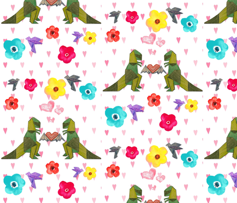 T-Rex luv takes flight fabric by modest on Spoonflower - custom fabric