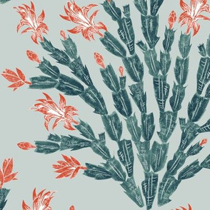 Christmas cactus damask -  red, navy and slate