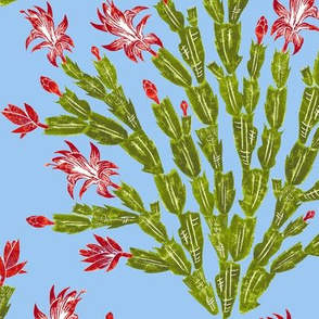 Christmas cactus damask - red, green and olive on sky blue