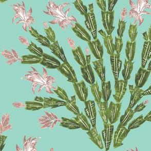 Christmas cactus damask - oolong aqua