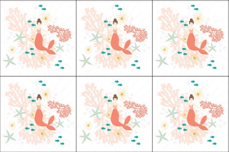 6 loveys: coral reef mermaid single motif brunette fabric by ivieclothco on Spoonflower - custom fabric
