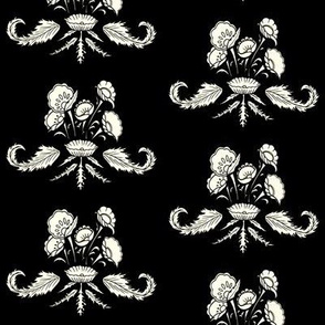 Leafy Floral in black and white