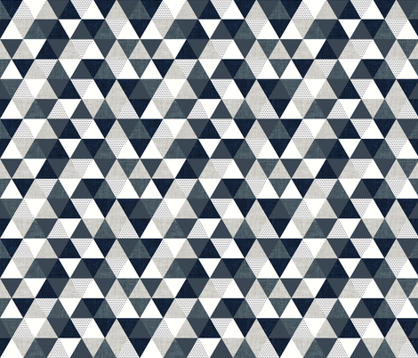 slate and navy triangles fabric by ivieclothco on Spoonflower - custom fabric