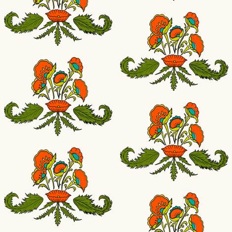 Leafy Floral_greens and reds fabric by carrie_narducci on Spoonflower - custom fabric