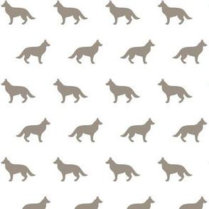 German Shepherd Warm Grey Silhouette