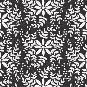 Floral motif-black _ white